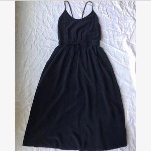 Black silk Wilfred Aritzia dress midi racerback